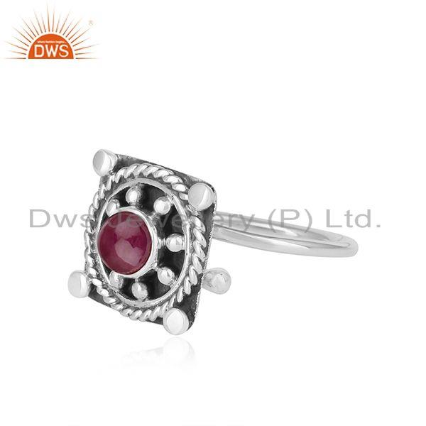 Exporter Handmade Oxidized 925 Sterling Silver Natural Ruby Ring Jewelry