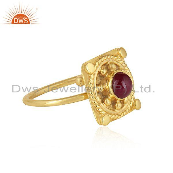 Exporter Vintage Design Yellow Gold Plated Silver Natural Ruby Gemstone Rings