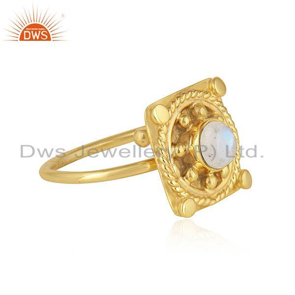 Exporter Rainbow Moonstone Designer Yellow Gold Plated 925 Silver Ring Jewelry