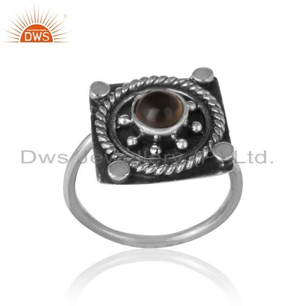 Designer rings in oxidized silver and smoky gemstone