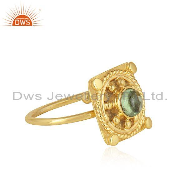 Exporter Green Tourmaline Gemstone Yellow Gold Plated Silver Designer Rings