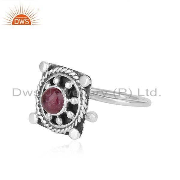 Exporter Natural Pink Tourmaline Gemstone Oxidized Silver Antique Ring Jewelry