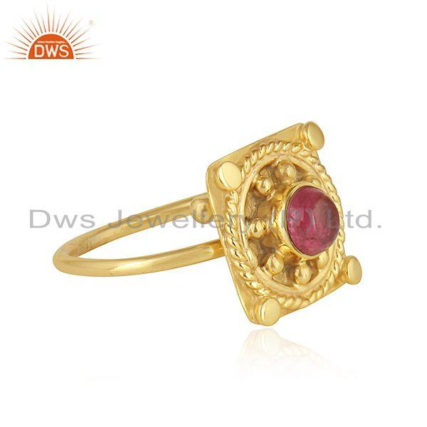 Exporter Pink Tourmaline Gemstone Stackable Gold Plated 925 Silver Ring Jewelry