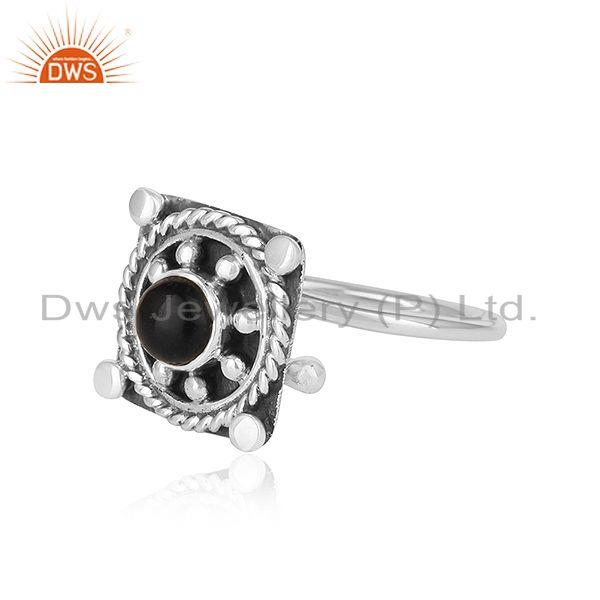Exporter Natural Black Onyx Gemstone Oxidized 925 Silver Antique Design Rings