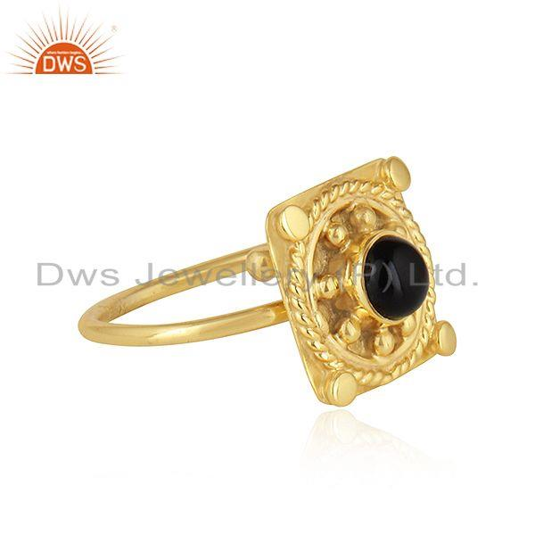 Exporter Natural Black Onyx Gemstone Handmade Designer Gold Plated Silver Rings