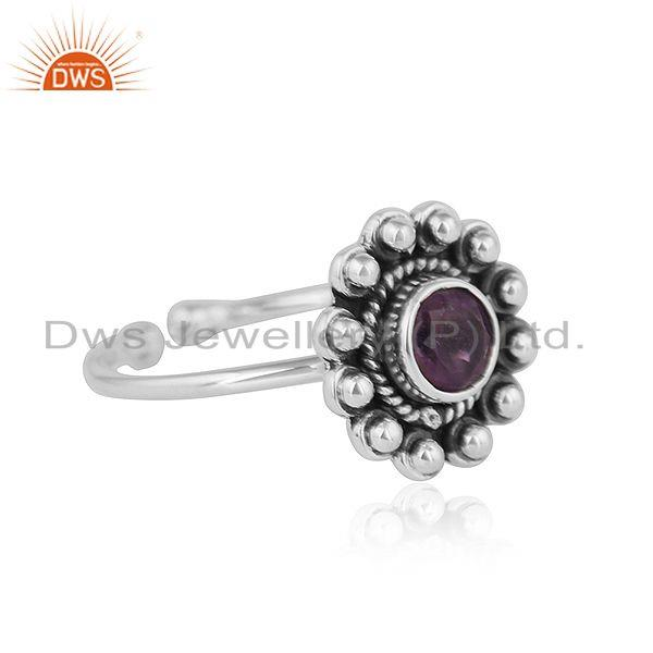 Exporter Antique Oxidized 92.5 Silver Designer Amethyst Gemstone Ring Jewelry