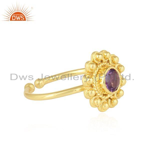 Exporter Natural Amethyst Round Stackable Gold Plated Silver Designer Rings