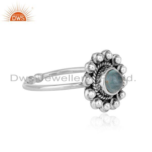 Exporter Apatite Gemstone Round Stackable Sterling Silver Oxidized Ring Jewelry