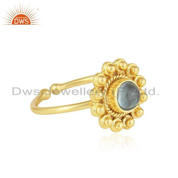 Exporter Apatite Gemstone Gold Plated Designer Silver Stackable Ring Jewelry