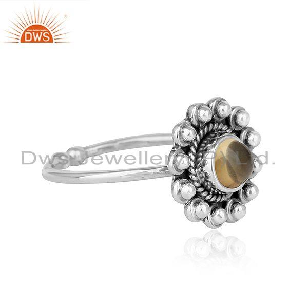 Exporter Natural Citrine Gemstone Designer Oxidized Antique Silver Ring Jewelry