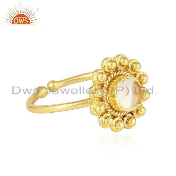 Exporter Beautiful Round Design Gold Plated 925 Silver Citrine Gemstone Rings