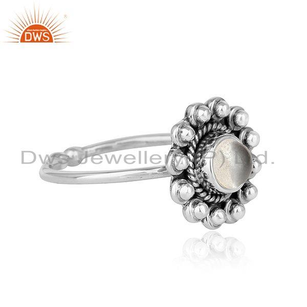 Exporter Crystal Quartz Gemstone Flower Designer Oxidized Silver Ring Jewelry