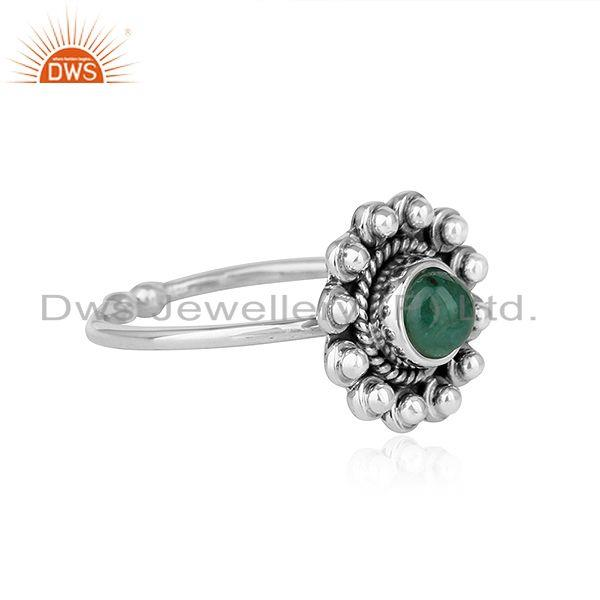 Exporter Natural Emerald Gemstone Antique Design Oxidized Silver Ring Jewelry