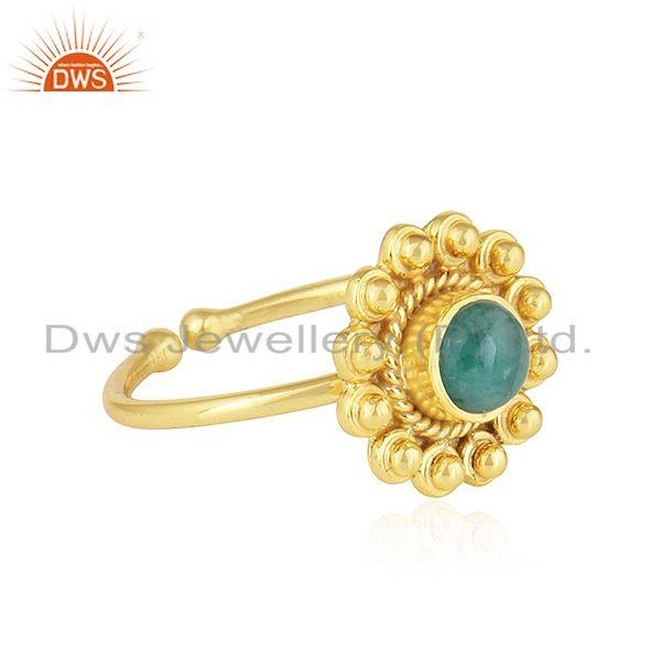 Exporter Natural Emerald Gemstone Yellow Gold Plated 925 Silver Ring Jewelry