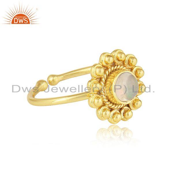 Exporter Ethiopian Opal Gemstone Round Yellow Gold Plated Silver Stackable Ring