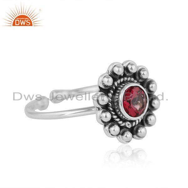 Exporter Pink Topaz Gemstone Womens Antique Oxidized Silver Ring Jewelry