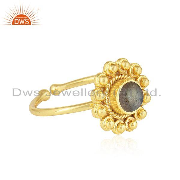 Exporter Natural Labradorite Gemstone Round Design Gold Plated Silver Rings