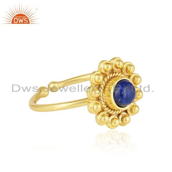 Exporter Natural Lapis Lazuli Gemstone 18k Gold Plated 925 Silver Ring Jewelry