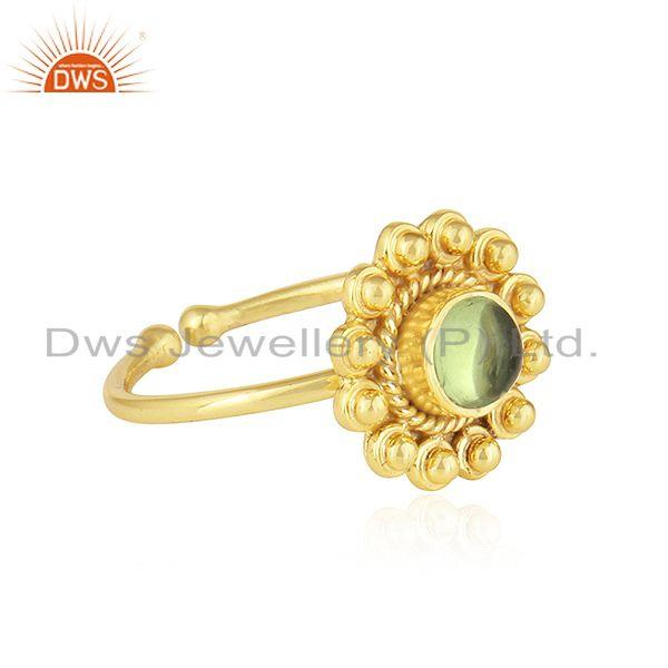 Exporter Peridot Gemstone Womens Yellow Gold Plated Designer 925 Silver Rings