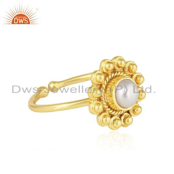Exporter Round Design 18k Yellow Gold Plated Silver Natural Pearl Ring Jewelry