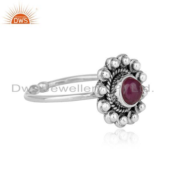 Exporter Natural Ruby Gemstone New look Antique Oxidized Plated Silver Rings