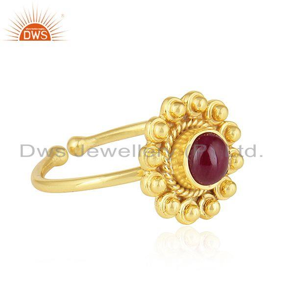 Exporter Flower Design 18k Gold Plated Silver Natural Ruby Gemstone Rings