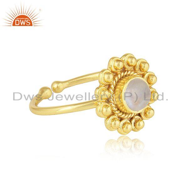Exporter Rainbow Moonstone 18k Yellow Gold Plated 925 Silver Adjustable Rings