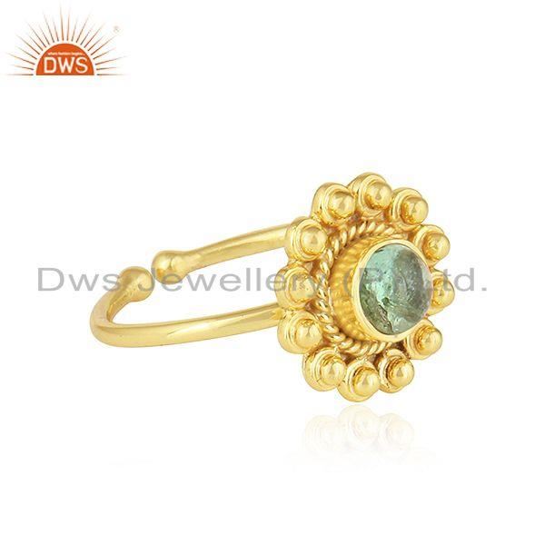Exporter Green Tourmaline Gemstone 18k Gold Plated Designer Silver Rings