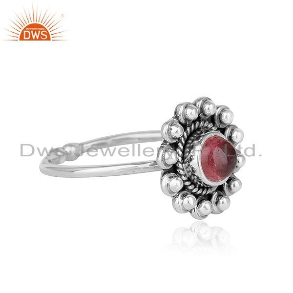 Exporter Flower Designer Oxidized Plated Silver Pink Tourmaline Gemstone Rings