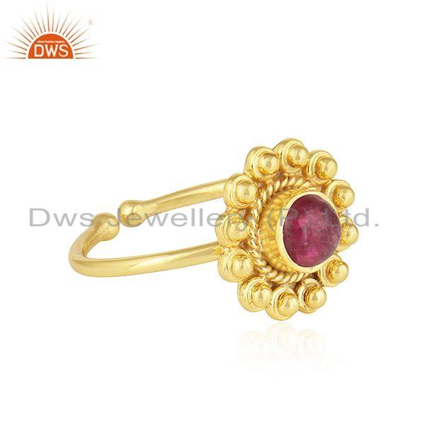 Exporter Pink Tourmaline Gemstone Flower Design Gold Plated Silver Rings