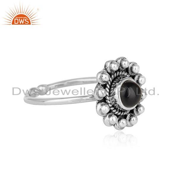Exporter Black Onyx Gemstone Womens Flower Designer Oxidized Silver Rings