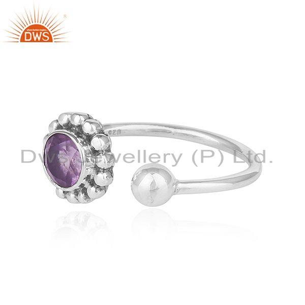 Exporter Amethyst Gemstone Handmade Design 925 Silver Oxidized Ring Jewelry