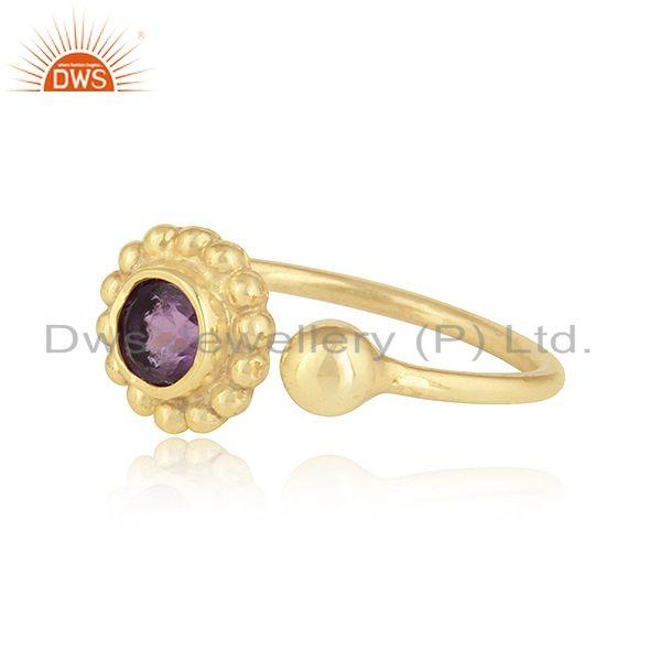 Exporter New Yellow Gold Plated 925 Silver Natural Amethyst Gemstone Rings