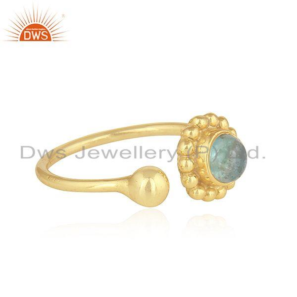 Exporter Apatite Gemstone 18k Yellow Gold Plated 925 Silver Rings Jewelry