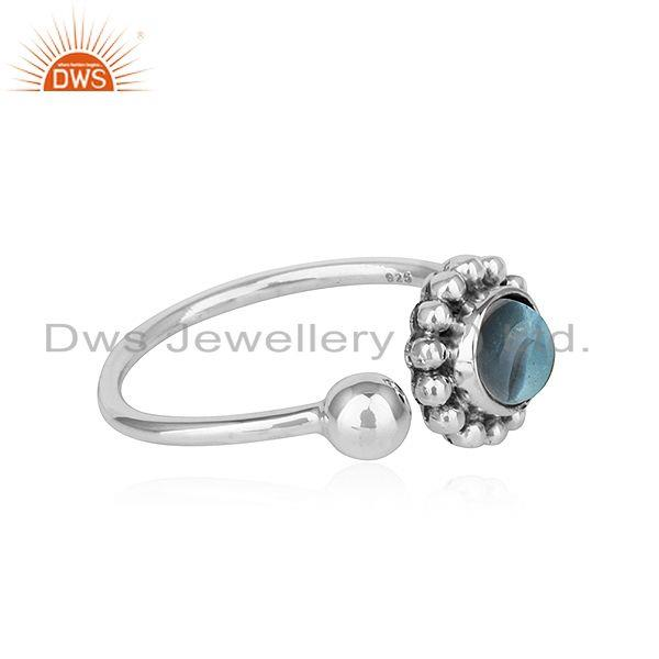 Exporter Blue Topaz Gemstone Oxidized Finish 925 Silver Flower Design Rings