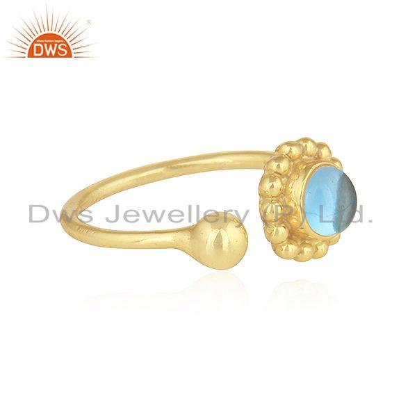 Exporter Blue Topaz Gemstone Flower Design Gold Plated 925 Silver Rings Jewelry