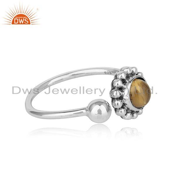 Exporter Flower Design Oxidized Silver Natural Citrine Gemstone Ring Jewelry
