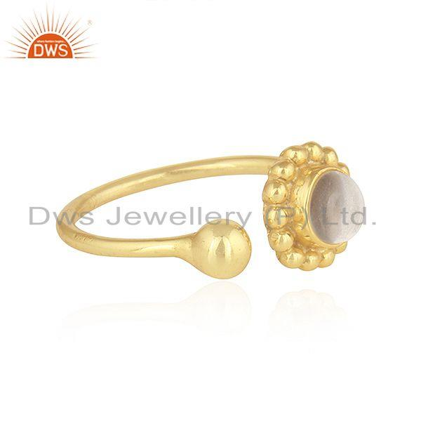 Exporter Designer Gold Plated Adjustable 925 Silver Crystal Quartz Rings