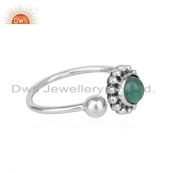 Exporter Natural Emerald Stone Oxidized Plated Sterling Silver Designer Rings