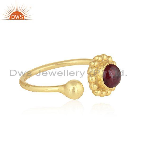 Exporter Adjustable 18k Gold Plated 925 Silver Garnet Gemstone Rings Jewelry
