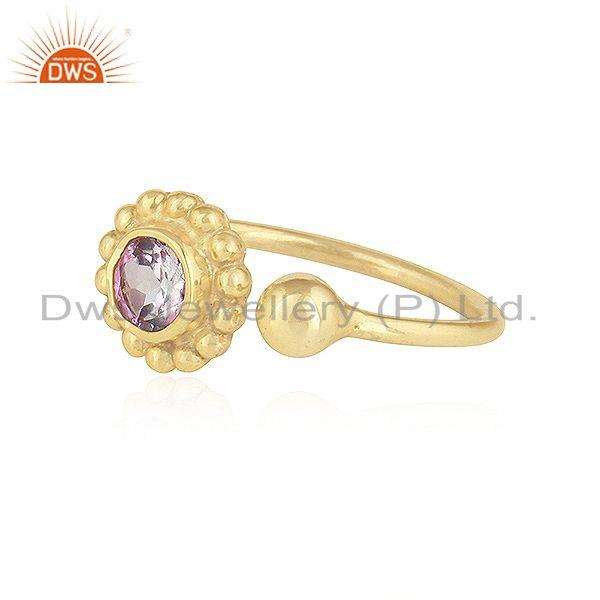 Exporter Pink Topaz Gemstone Flower Adjustable Gold Plated 925 Silver Rings