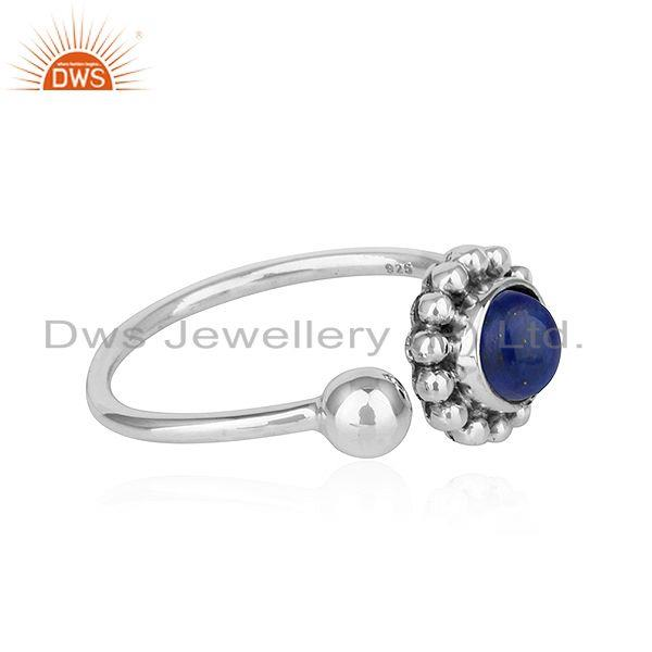 Exporter Lapis Lazuli Gemstone Flower Antique Design Oxidized Silver Rings