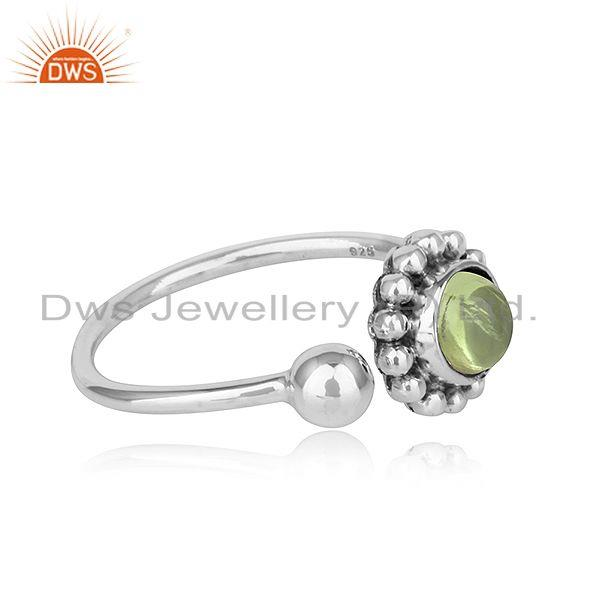 Exporter Peridot Gemstone New Adjustable Oxidized Plated 925 Silver Rings