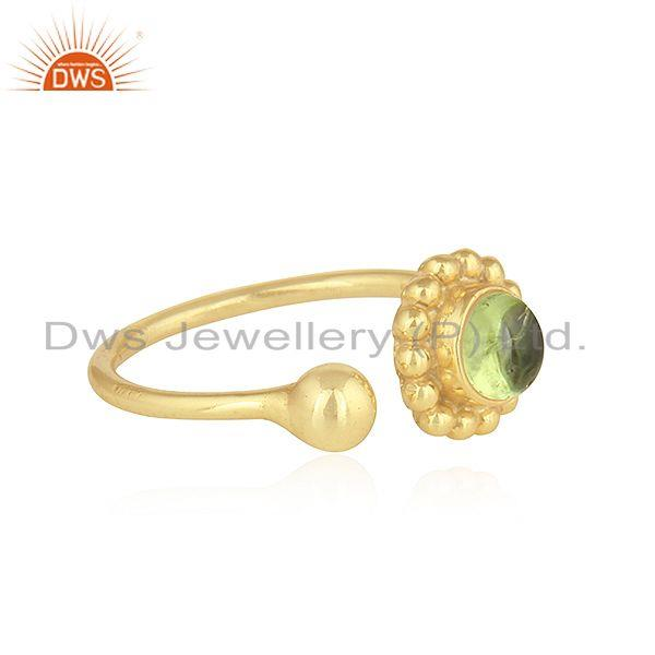 Exporter Natural Peridot Gemstone Designer Gold Plated Silver Rings Jewelry