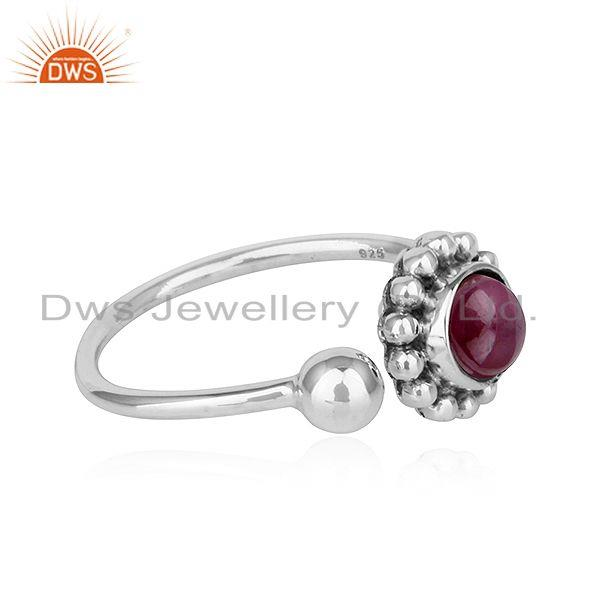 Exporter Natural Ruby Stone Designer Oxidized Antique 92.5 Silver Rings Jewelry