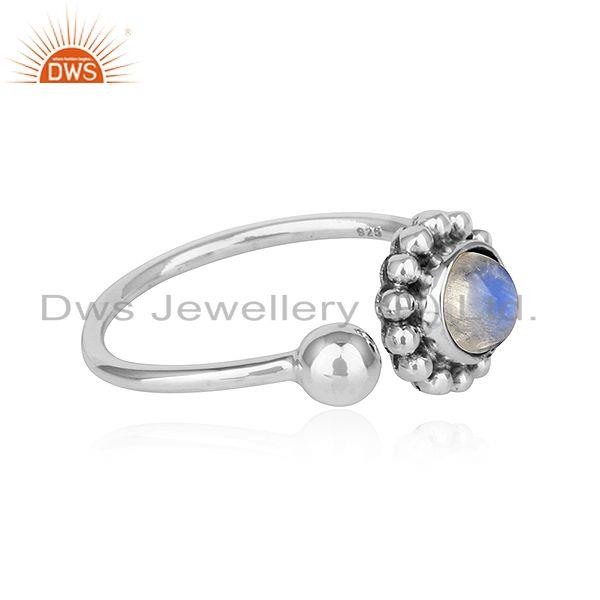 Exporter Rainbow Moonstone Flower Designer Adjustable Oxidized Silver Rings