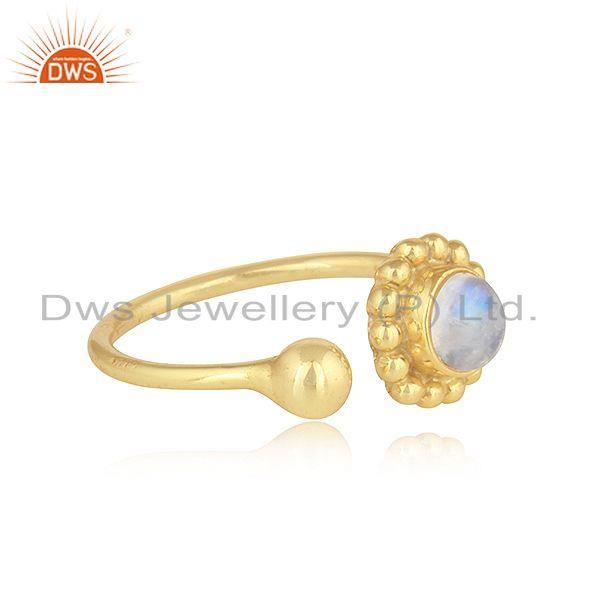 Exporter Rainbow Moonstone Womens Gold Plated 925 Silver Flower Design Rings