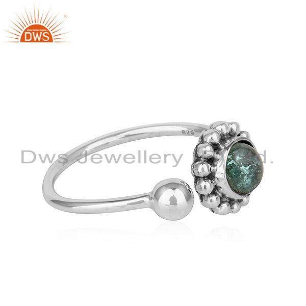 Exporter Green Tourmaline Gemstone Adjustable Antique Oxidized Silver Rings