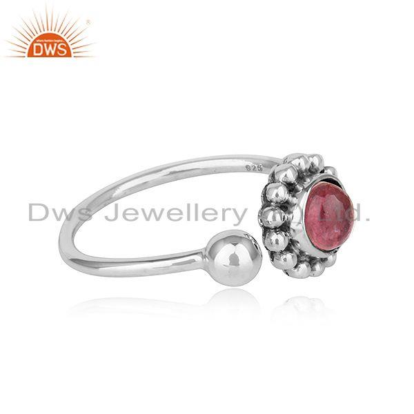 Exporter Natural Pink Tourmaline Gemstone Womens Oxidized Plated Silver Rings