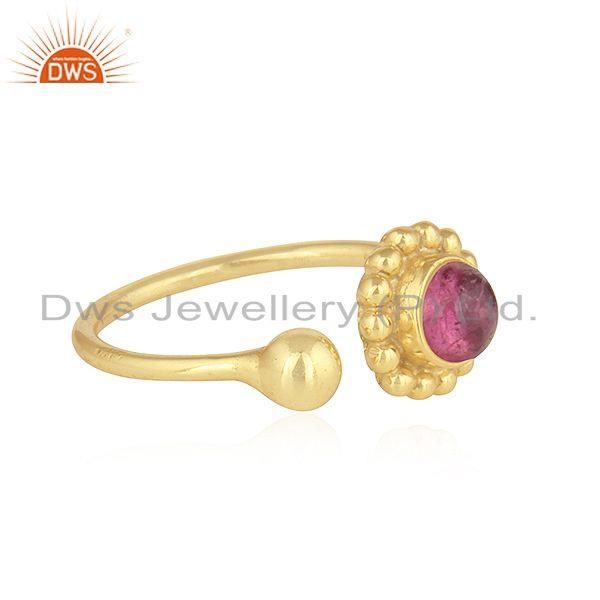 Exporter Pink Tourmaline Gemstone Designer 925 Silver Gold Plated Rings Jewelry
